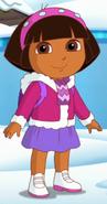 Dora in snow coat