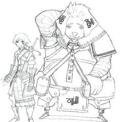 Early concept art of Gaspard, to the right.