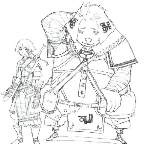 Early concept art of Silabus, to the left