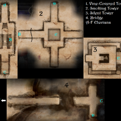 Maps of the towers and the bridge