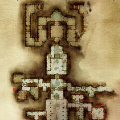 Ruined temple (first floor), The Scrolls of Banastor locations <b>{Note: The location of the first scroll is marked incorrectly on the map. Check the room just above, on the left.}</b>