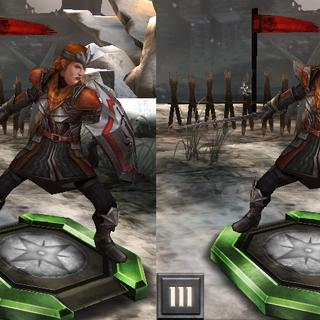 Avelina jako kapitan straży w <i>Heroes of Dragon Age</i>