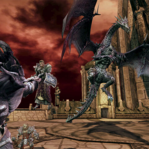 An ogre attacking Alistair, with the Archdemon in the background.