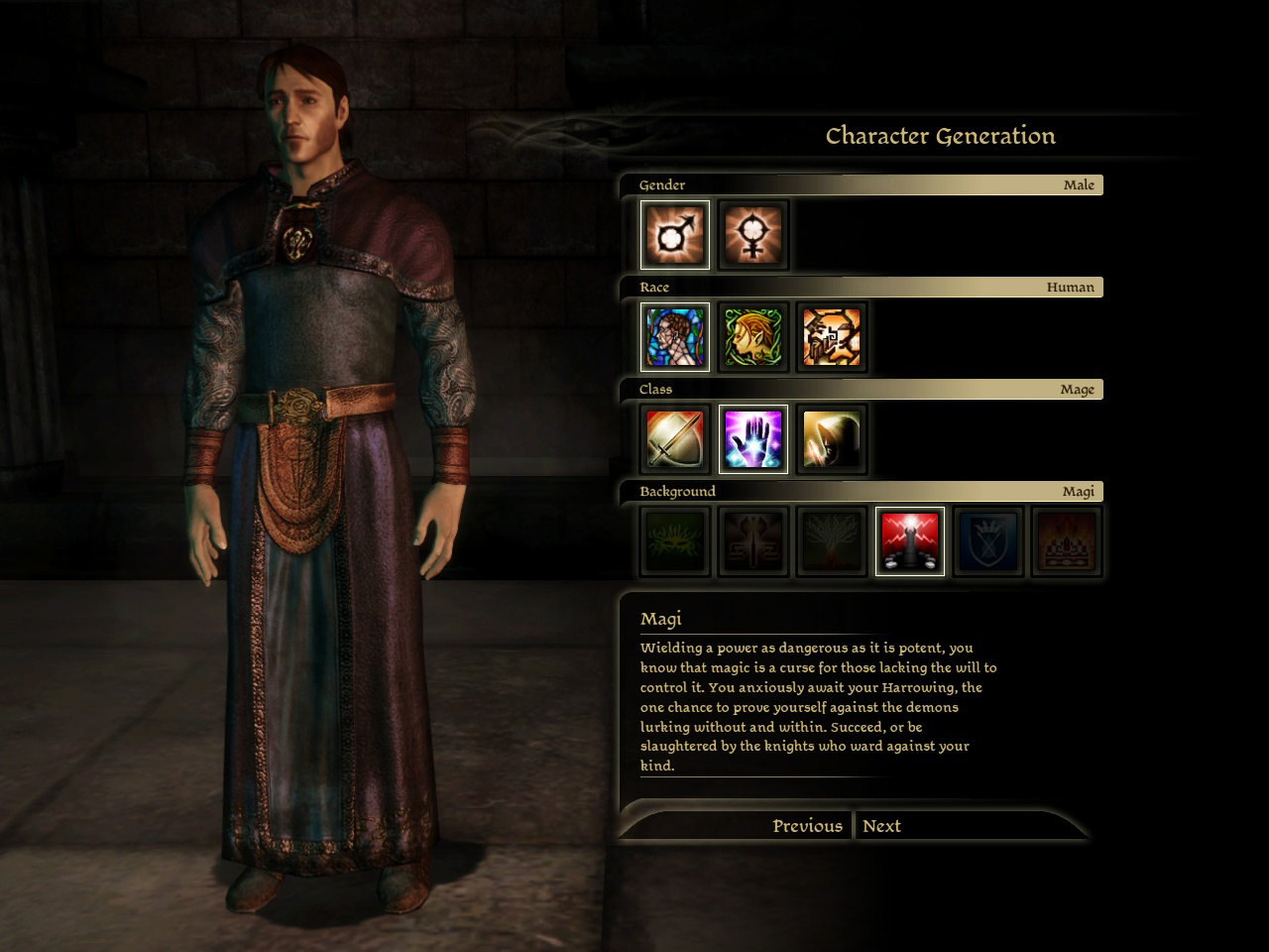 Character origins gets determined by these choices, which then impacts what happens to the player-character, and therefore shapes their personality.