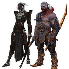 Hornless female and male Qunari