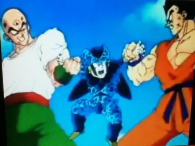 File:Tien and Yamcha fighting Cell Jr..jpg