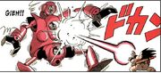 Goku fires a kamehameha at the Pilaf Machine