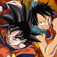 File:Goku and Luffy Toei Animation!.png