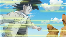Goku using Afterimage to dodge bullets