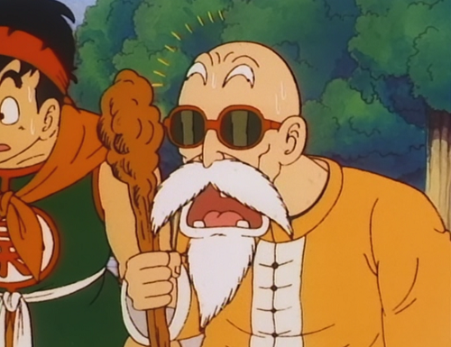 File:Roshi after hearing about Goku at Korin Tower.png