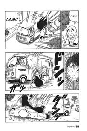 Goku hits a truck and lands on the floor before Tien