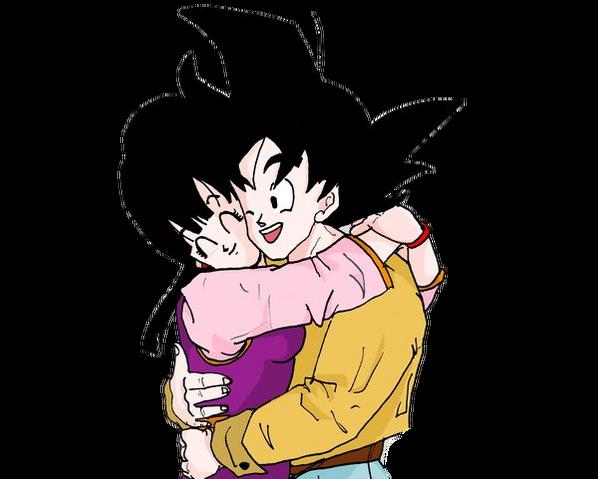File:Goku and Chichi hug2 by dbzsisters.png
