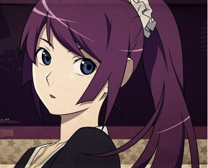 File:Bakemonogatari-purple-hair-Senjougahara-Hitagi-anime-ponytails-anime-girls-600x337.jpg