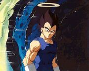 Vegeta with halo near cave