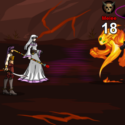 Tomix using his regular attack on an Inferno Elemental.