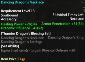 Dancing Dragon's Necklace Info