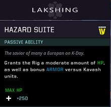 Hazard suite gear