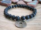 Nym Viper lava rock coin bracelet