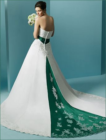 Wedding dresses with green
