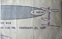 Ticket duran duran 1989 phillipines