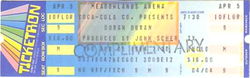 Meadowlands arena duran duran APRIL 5, 1984 East Rutherford, NJ, USA ticket