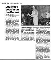 NYPost Duran Duran Beacon Theater 1987