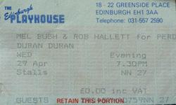 Ticket Duran Duran ticket stub x 2 from Edinburgh 28 & 29 April 1987 wikipedia 29