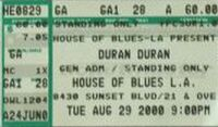 House of Blues, Los Angeles, CA, USA WIKIPEDIA DURAN DURAN TICKET STUB BOWIE