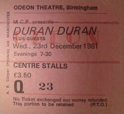 Odeon Birmingham UK - 23 December 1981 wikipedia duran duran ticket stub