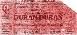 Ticket duran duran 1987-04-16 ticket