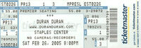 Staples Center, Los Angeles, CA, USA wikipedia duran duran band ticket stub