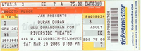 Riverside Theatre, Milwaukee WI, USA. DURAN DURAN DISCOGS TICKET