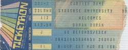 DURAN DURAN 03 MARCH 1984 SYRACUSE USED TICKET VERY RARE ticket wikipedia