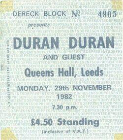 Ticket leeds queen hall duran duran 1982 concert wikipedia