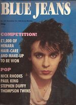 Blue jeans magazine uk 30 november 1985 NICK RHODES COVER AND POSTER DURAN DURAN girl panic video wikipedia song single