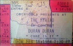 The myriad duran duran ticket 1984