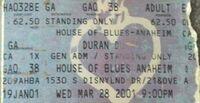 House of Blues, Anaheim, CA, USA wikipedia duran duran ticket stub 2