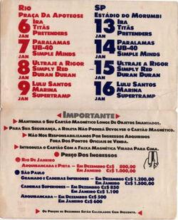 Ticket-Hollywood Rock 1988-Brazil wikipededia duran duran ticket stub 1