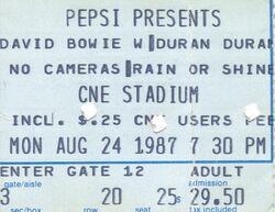 David Bowie-Duran Duran - 08-24-87 ticket Molson CNE Stadium, Toronto, Ontario, Canada discogs