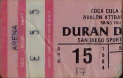 Coliseum, Oakland, CA, USA wikipedia ticket stub show duran duran 1984 15 april