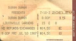 Ticket duran duran 10 july 1987