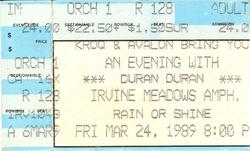 Duran Duran ticket stub 24 march 89