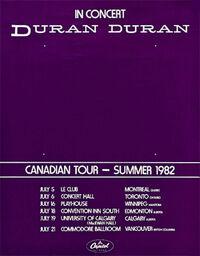 Canadian tour 1982 duran duran poster