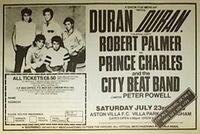 Duran Duran-1983 magazine advert mencap concert aston villa charity concert aston villa park birmingham wikipedia robert palmer prince charles and the city beat band peter powell dj