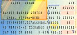 Duran duran ticket 4 feb 84