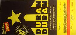 Ticket duran duran zurich 5 may 1987