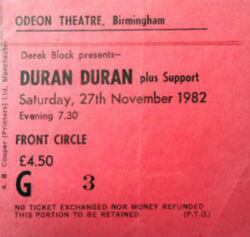 Birmingham UK Odeon wikipedia duran duran ticket stub