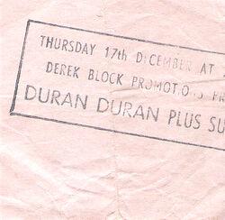 Duran duran hammersmith ticket 1