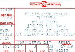 Duran Duran 1-26-89 ticket the palace auburn hills