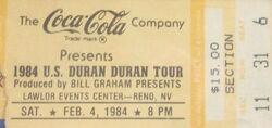 Lawlor Arena Reno NV (USA) ticket stub wikipedia duran duran 1984 tour 1